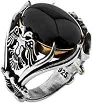 Solid 925 Sterling Silver Onyx Stone Turkish Handmade Luxury Eagle Men's