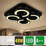 HG® 48W LED Deckenlampe Wohnzimmer Badlampe eckig Warmweiß Energiespar Energiesparende Möbeleinbauleuchte Lampe Schwarz