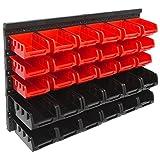 Panorama24 Wandregal Stapelboxen rot Set ? 32 tlg Box ? extra starke Wandplatten ? Regal erweiterbar ? Werkstattregal Lagerregal Werkstattwandregal Steckregal Sortimentskasten Kleinteilemagazin