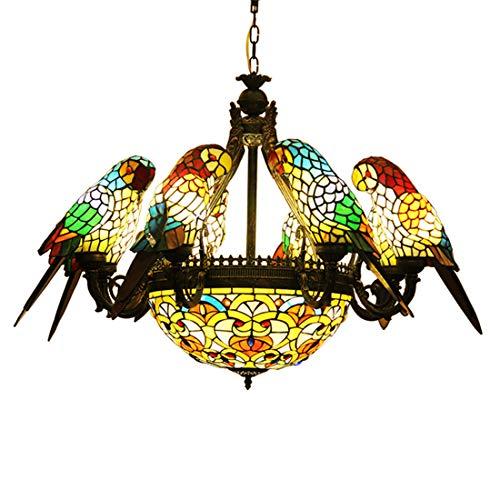makernier Vintage Tiffany-Stil gebeizt Glas 8Arme Papageien Kronleuchter mit gewendetem Deckenleuchte Hängelampe