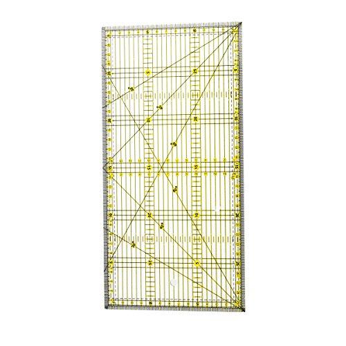 healifty Regel für Naht aus Acryl mit zwei Gitter-Linien Farbe für DIY Erleichterung der Präzision Schneiden (15x 30cm)