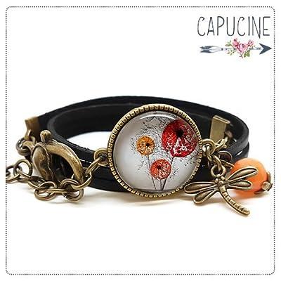 Bracelet 2 tours noir - Bracelet cabochon verre fleurs au vent - Bracelet breloques bronze - Les Fleurs au Vent