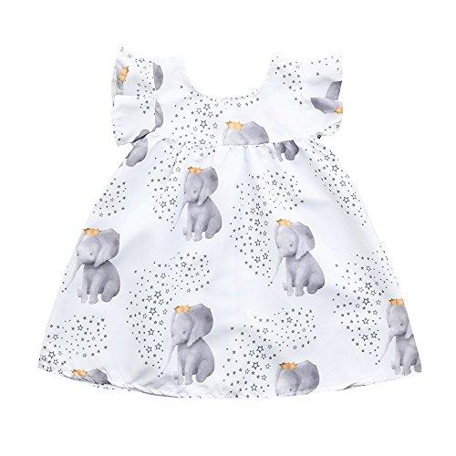 JUTOO Neugeborenes Kleinkind Baby Mädchen Kleid Cartoon Elefant kleine Sterne Druck Kleider Kleidung Outfits (Weiß,90) - Für Cd-player-wecker Mädchen