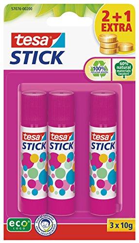 tesa Stick Klebestift ecoLogo rund, ökologisch, 3 x 10g, pink