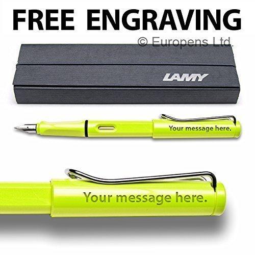 Lamy Safari - Penna stilografica edizione speciale 2015 con pennino tratto medio, in confezione regalo, colore: verde lime fosforescente