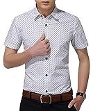 AIYINO Herren Freizeit Hemd Kariert Drucken Kontrast 100% Baumwolle Business Langarmshirts 13 Farben (Medium, K-Weiß)
