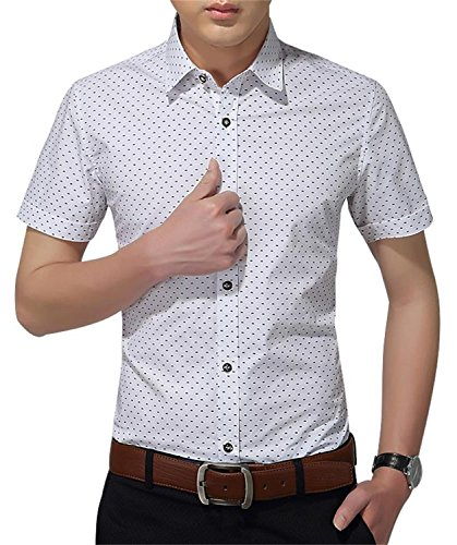 AIYINO Herren Freizeit Hemd Kariert Drucken Kontrast 100% Baumwolle Business Langarmshirts 13 Farben (Large, K-Weiß)