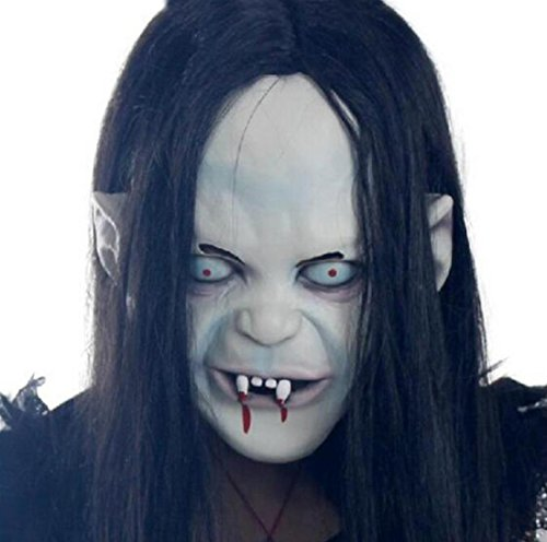 JJH-ENTER Maske Halloween Weihnachten Terror Der Groll Sadako Maske Schwarzes Haar Hexe Vinylkleber (Schwarze Maske Teufel Halb Latex)