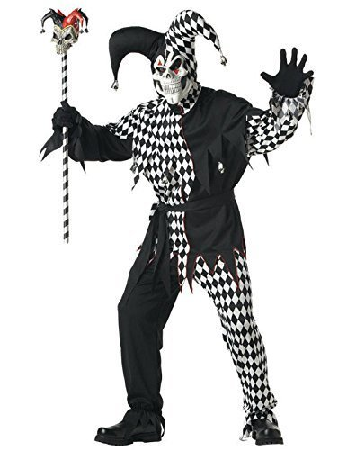 Mens Evil Jester Small Halloween Fancy Dress Costume + Mask Clown Circus Joker Outfit by california (Evil Kostüm Jester Kind)