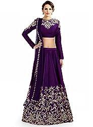 Fabkaz Womens Raw Silk And Embroidery Work Lehenga Choli (Purple)