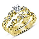 Vorra Fashion Elegantes Design 14K vergoldet Sterling Silber 925Ehering Verlobungsring Set