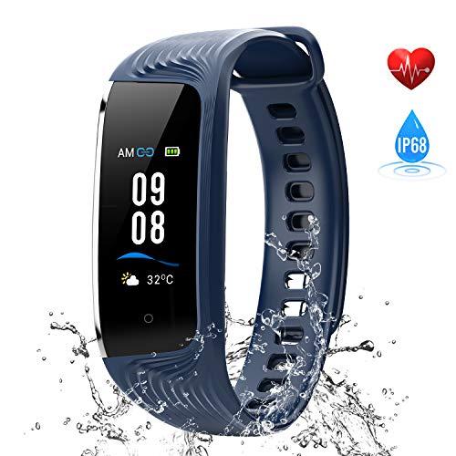 Fitness Armband mit Pulsmesser, Wasserdicht IP68 WiMiUS Fitness Tracker, Aktivitätstracker, Schlaf Monitor,Schrittzähler, GPS, Kalorienzähler Uhr Smart Watch für Damen Herren (Blau)