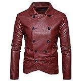 FeiBeauty Herren Jacke Kunst- Lederjacke Bikerjacke Biker Übergangsjacke (Slim Fit) Zweireiher Mode-Jacke