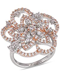 Tistabene Retails Floral Modern Two Tone Plated Big Cocktail Ring | Rose White Plated With American Diamonds Cocktail...