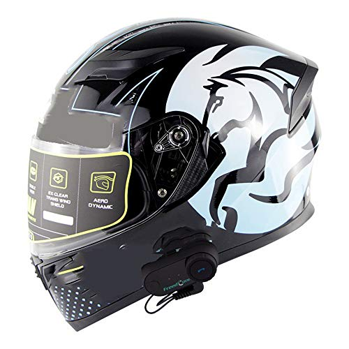 NAN® Motorrad Bluetooth Helm Smart Helm Anti-Fog Multifunktions Bluetooth Musik Integralhelm HD Bluetooth Intercom Helm ECE Standard,Xl