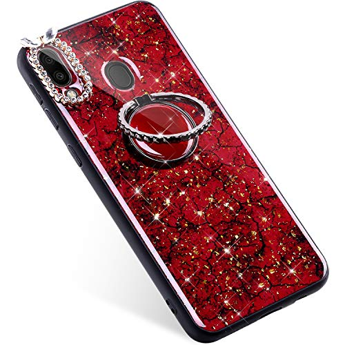 Uposao Kompatibel mit Samsung Galaxy M20 Hülle Tasche mit 360 Grad Ständer Handy Halter Finger Ring Bling Glänzend Glitzer Strass Diamant Handyhülle Schutzhülle TPU Silikon Hülle Case,Rot