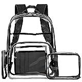 FOSTAK Klar Rucksack PVC Transparent Taschen Durchsichtig Schulrucksack Clear Bookbag Reise Backpack Gepäck Beutel Outdoor Organizer Fit 15 Zoll Laptop,Schwarz