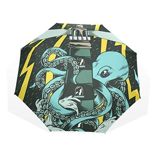 XiangHeFu Regenschirm Storm Night Octopus Lighthouse Auto Öffnen Schließen 3 Falten Lightweight Anti-UV - 738-stick