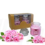 #6: Set of 2 Richly Scented Candles Jars in Seductive English Rose Aroma | 100% cotton wicks | Finest Wax Blend | Decorative Lights for Living Room | Candles for Decoration Love