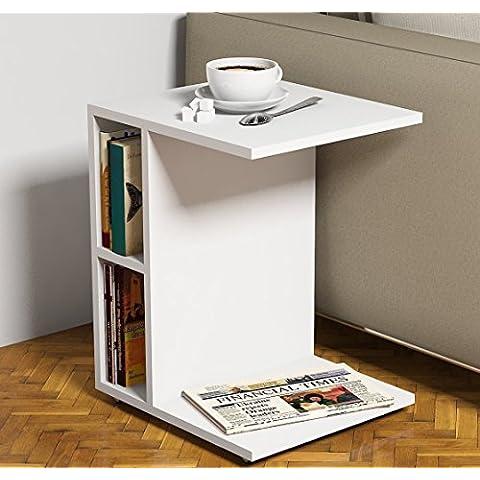 SISTER Mesa auxiliares de salón - Blanco - Mesa de centro - Mesa para el café