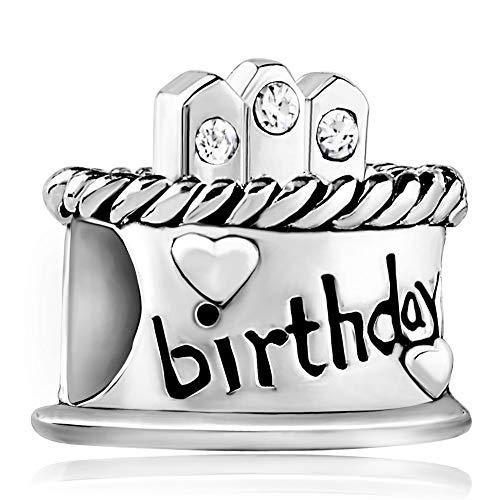 Poetic Charms Geburtstagskuchen Charm Happy birthday Cake 12 Simulierte Geburtsstein 925er Beads für Armband Halskette (Happy Birthday Charme Pandora)