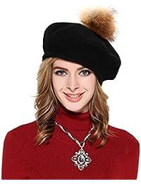 f0cf85b19061 Femme Béret Cachemire bonnet chic Style rétro Béret de laine béret femme  vintage Chapeau élégant hiver