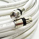 6ft WHITE Perfect Vision Solid Copper UL CM CL2 rated for in wall installation 3ghz 75 Ohm Coaxial Rg6 Directv, Dish Network, Cable Tv Video Cable w/ PPC Rg6 Fittings by PHAT SATELLITE INTL