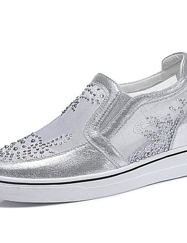 ZQ Damenschuhe - High Heels - B¨¹ro / Kleid / L?ssig / Sportlich - Glanz / T¨¹ll - Keilabsatz - Creepers - Wei? / Silber silver-us6.5-7 / eu37 / uk4.5-5 / cn37