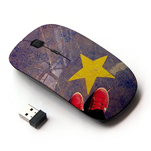 KOOLmouse [ Mouse Senza Fili Ottico 2.4G ] [ Yellow Star And Red Sneekers On A Cracked Floor ]