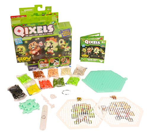 Asmokids Qixels - Kk87023 - Mini Kit 4 Créations - Glow in The Dark - Thème Zombies
