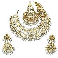 Retailbees Meena Kundan Neckalce Ethnic Bridal Wedding Gold Plated Jewelry With Earrings,Tikka & PAssa Set
