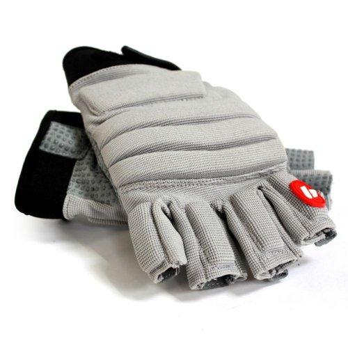 FLGC-02 American Football Handschuhe Linemen neue Passform, kurze Finger, OL,DL, GRAU (L)
