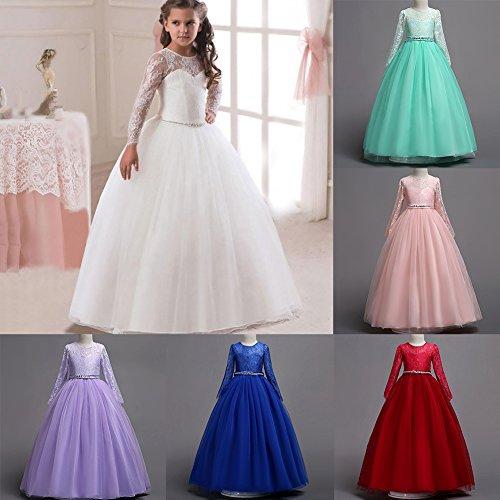 4f5c15e0b IWEMEK Vestido de niña de flores para la boda Princesa Largo Manga Vestidos  de Dama De Honor Fiesta Tul Comunión Cumpleaños Bola Pageant Paseo ...