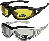 Choppers - Pack de 2 gafas de sol con acolchado acolchadas hombre mujer moto bici nocturnas - 1x Modelo 03 (negro / amarillo tintado) y 1x Modelo 05 (plata / casi transparente) - Modelo 03 + 05 -