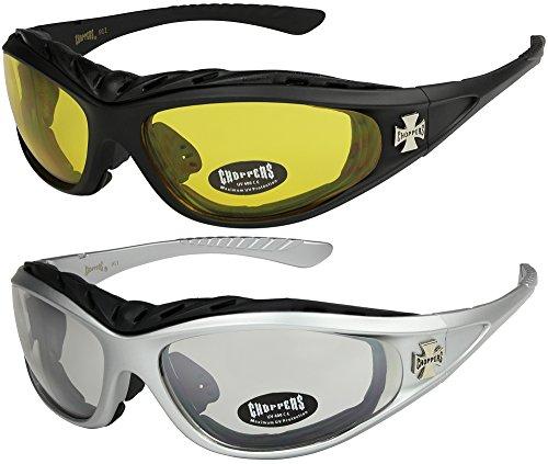 X-CRUZE 2er Pack Choppers 911 Sonnenbrillen Motorradbrille Sportbrille Radbrille - 1x Modell 03 (schwarz/gelb getönt) und 1x Modell 05 (silber/annährend transparent) - Modell 03 + 05 -