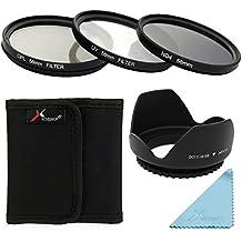 Parasol 58mm + UV CPL ND4 Filtro Set + Funda para Canon EOS 5D Mark 5D2 5D3 6D 7D 70D 60D 700D 650D 1100D 1000D 600D 50D 550D 500D 40D 30D 350D 400D 450D 30D 10D 100D Rebel XS XSi T5i T4i T3i T2i T1i T4 T3 Cámara con el Tamaño de la Rosca de la Lente de 58 mm (Asegúrese de que el Diámetro de la Lente de la Cámara es de 58 mm) LF282