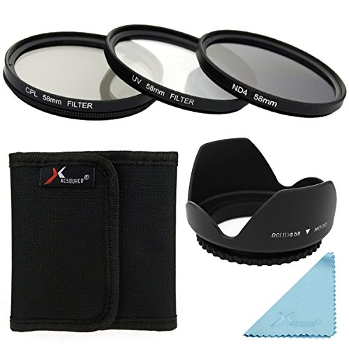 58mm Filtro Kit -- UV Filtri + CPL Filter + ND4 Filtro Neutrale Densità + Lens Hood/ Paraluce + 3-slot Ffiltri Custodia/Borsa/Caso/Carry bag/Case + Lens Cleaning cloth Per Canon EOS 5D Mark 5D2 5D3 6D 7D 70D 60D 700D 650D 1100D 1000D 600D 50D 550D 500D 40D 30D 350D 400D 450D 30D 10D 100D Rebel XS XSi T5i T4i T3i T2i T1i T4 T3 LF282