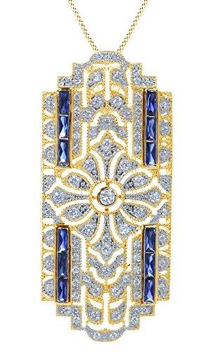 AFFY  -  925 Sterling-Silber  18K gelbvergoldetes Silber Baguetteschliff   blau Oxyde de Zirconium Saphir  (Blauen Saphir-gold-halskette)