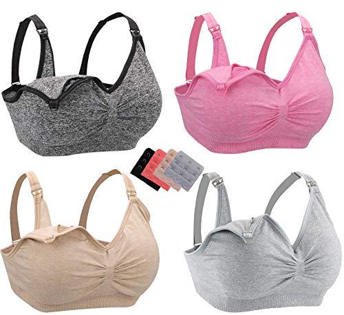 Leezepro Still BH Damen 2er/4er Pack Nahtlose Umstandmode ohne Bügel Schwangerschaft Still BHS mit zusätzlichen BH-Verlängerungen (XL, Mehrfarbig) (Verpackung/MEHRWEG)