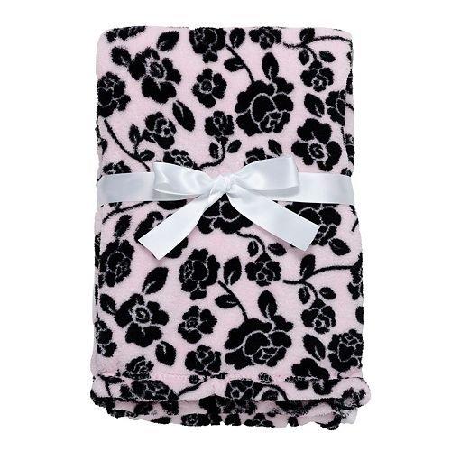 Baby Gear Plüsch Velboa Ultra Weiche Baby Mädchen Decke 30x 40, pink und schwarz