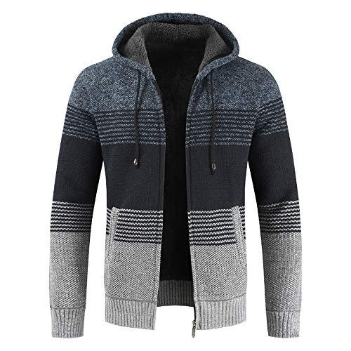 BEIXUNDIANZI Strickjacke Herren Pullover Bluse gestreiften Windbreaker dicken Reißverschluss warmen Hoodie Outwear Oberteile Mäntel Winter Herbst Mantel ZZ-Navy 2XL