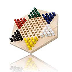 Mxtechnic Chinese Checkers Desktop Games Traditional Family Travel Board Games ,Star Shape ,Wooden