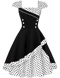 Babyonline® 50er Vintage Rockabilly Partykleider Cocktailkleider Polka Dots Faltenrock Swing Sommer Kleid FS1506