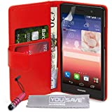 Yousave Accessories Huawei Ascend P7 Tasche Rot PU Leder Brieftasche Hülle Mit Mini Griffel Stift