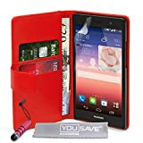 Yousave Accessories Huawei Ascend P7 Tasche Rot PU Leder