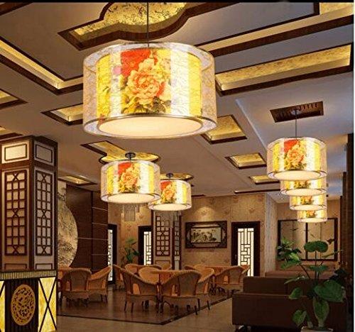 ZHGI Ferro battuto Ristorante sala da pranzo ciondolo minimalista contemporaneo opere classiche lampada pergamena,60*35cm