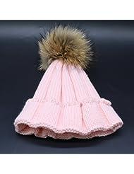 Wenxin0815 Hat Gorro De Punto Otoño Invierno Amplio Borde Tricotado Tapa Exterior Engrosada Cálida Gorra Mujer, Rosa