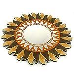 Artigianale Specchio Rotondo Forma Sole, Diametro 40cm. Decorativo Etnico.
