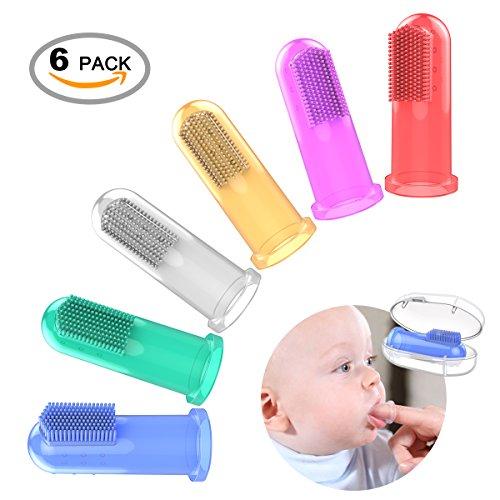 OZUAR 6 Stück Baby Fingerzahnbürste, Weiches Sicheres Baby Zahnbürste Kids Silikon Finger Zahnbürste Gummi Bürste Klar Massage und Storage Box