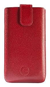 Favory Original Echt Ledertasche mit Rückzugfunktion speziell für das Samsung Galaxy S4 mini i9195 rot (nicht geeignet für das Galaxy S4 i9505)